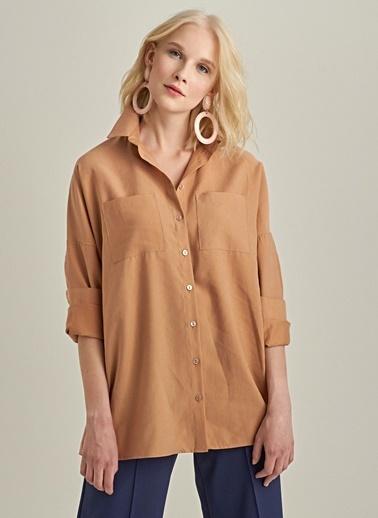 NGSTYLE Rahat Kalıp Liyosel Gömlek Camel